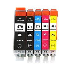Full Set of 5 Canon 570/571 XL Canon Compatible Inks with latest chips