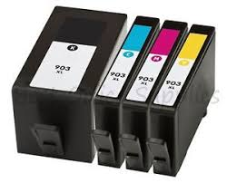 HP 903XL 1 Set of 4 with High Yield Black HP Remanufactured inks
