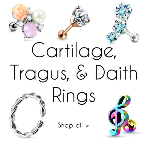 cartilage tragus and daith rings