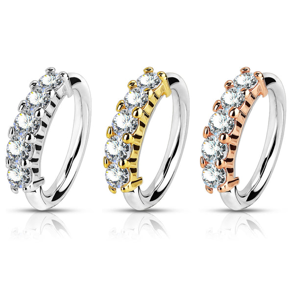 Five Gem Bendable Hoop Ring