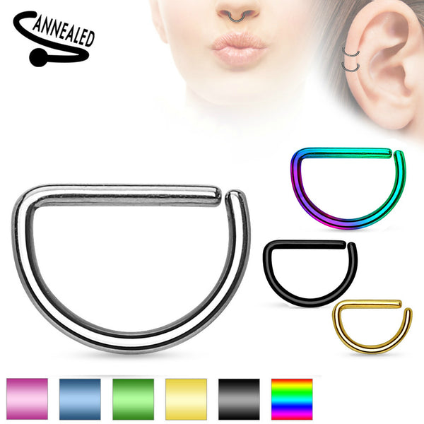 Annealed D Shaped Segment Ring Septum, Daith, Cartilage