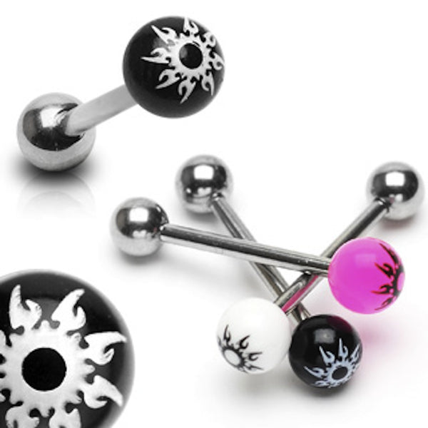Acrylic Starburst Surgical Steel Tongue Ring 14g