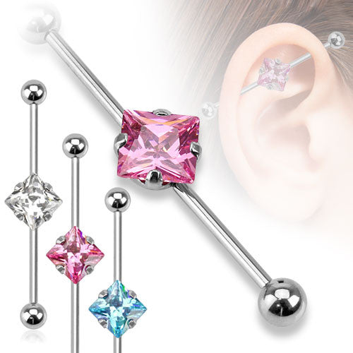 Square Cubic Zirconia Gem Industrial Barbell