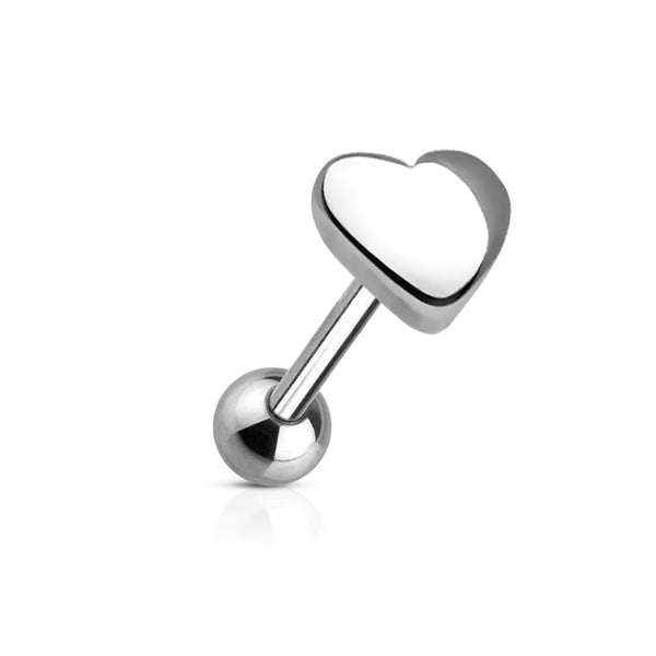 heart top surgical steel tongue ring