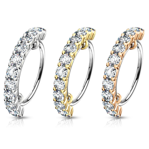 Half Circle Lined Gems Bendable Hoop Ring