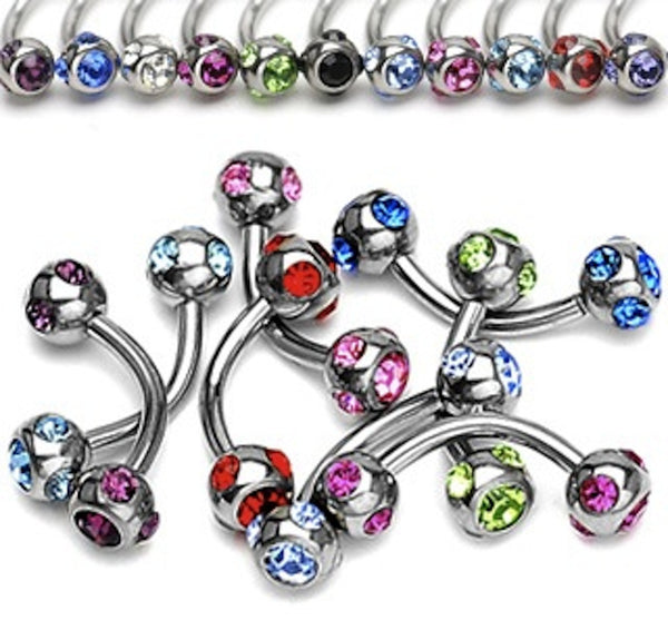 Multi-Gem Ball Surgical Steel Eyebrow Ring 16g