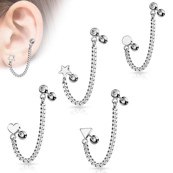 Chain Linked Barbell with Shape Cartilage Ring