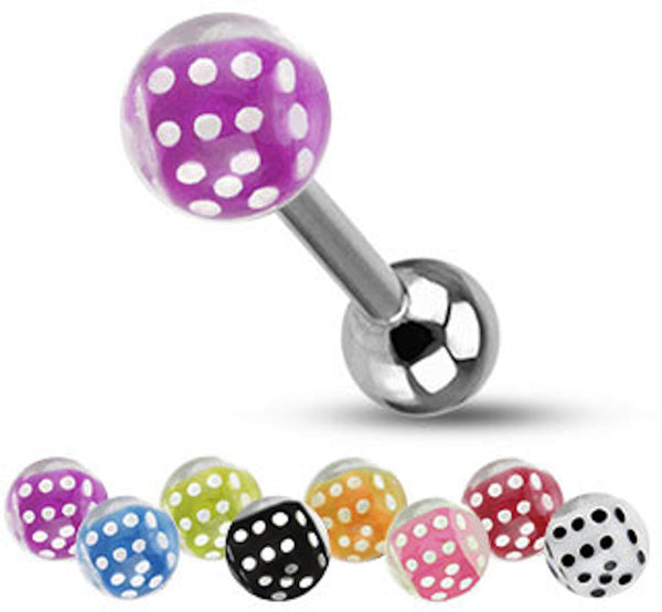 Dice Inside Bubble Ball Surgical Steel Tongue Ring 14g