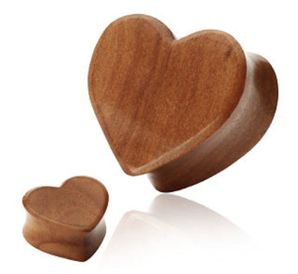 PAIR Organic Cherry Wood Heart Double Flared Plugs