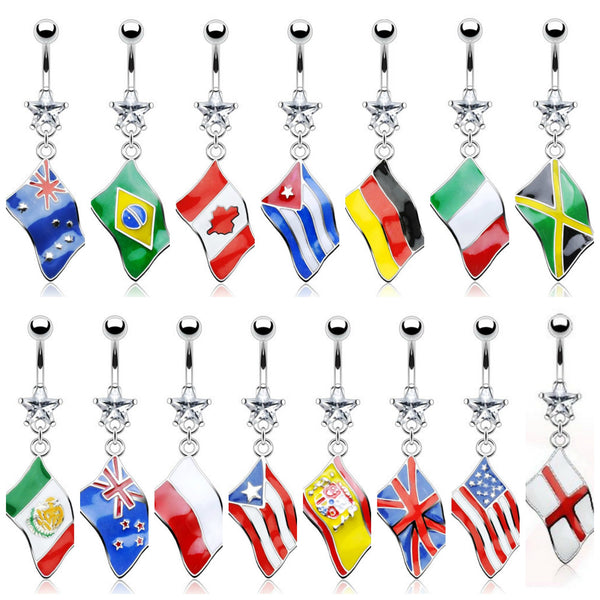 Flags of the World Dangle Belly button Ring