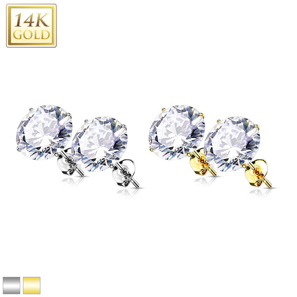 PAIR 14k Gold Earring Studs with Cz