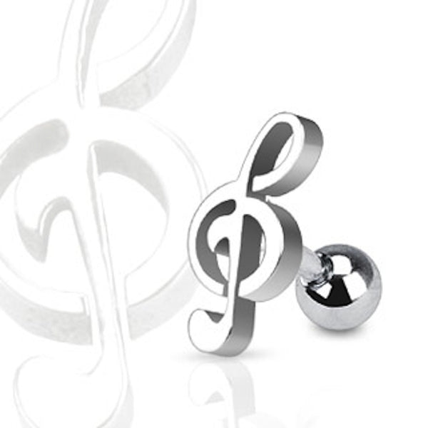 Treble Clef Surgical Steel Cartilage/Tragus Ring