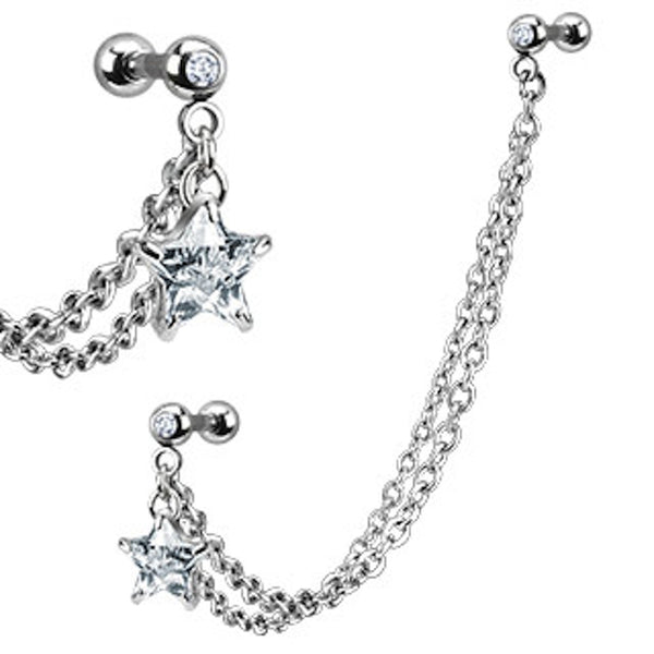 Star Gem with Double Chain Dangle Cartilage/Tragus Ring