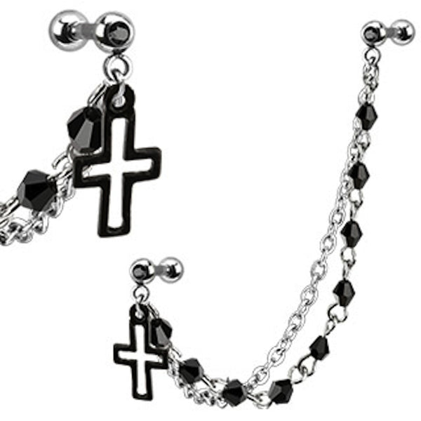 Cross with Double Beaded Chain Dangle Cartilage/Tragus Ring