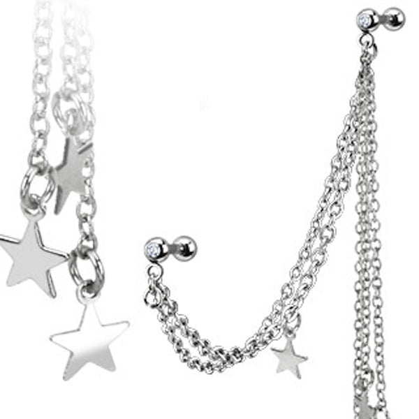 Multi-Chain Star Dangle Cartilage/Tragus Ring