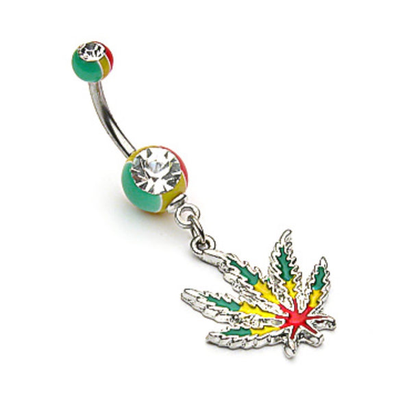 Jamaican Pot Leaf Belly Ring