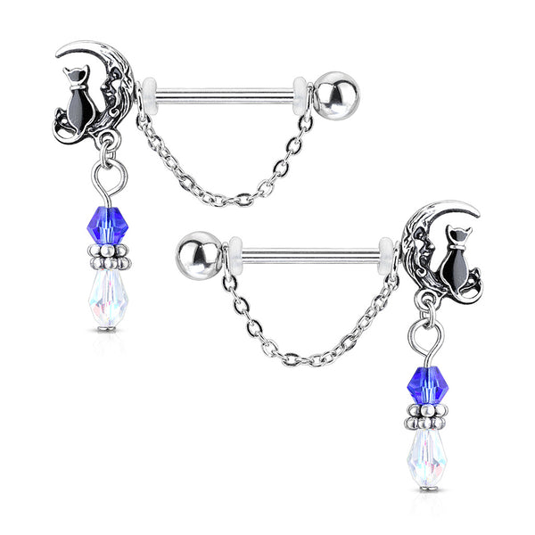 PAIR Moon and Cat Dangle Nipple Rings