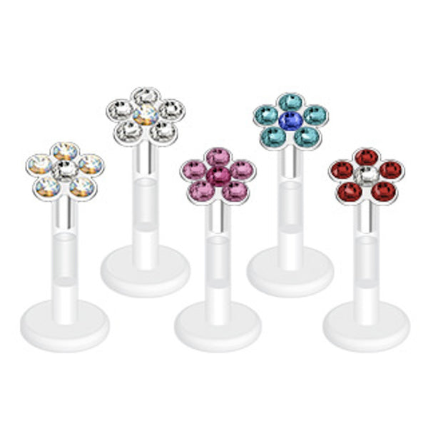 Multi-Gem Flower Top Bio-Flex Lip Ring 16g