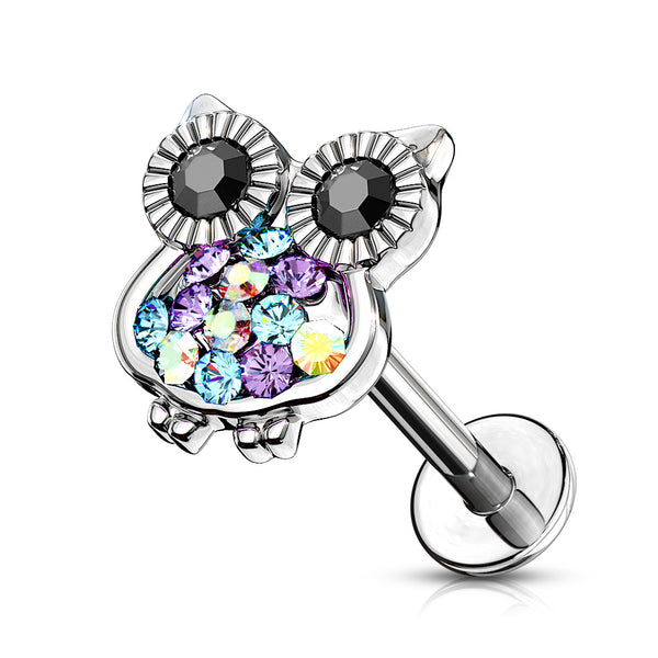 Multi-Colored Owl Top Lip Ring
