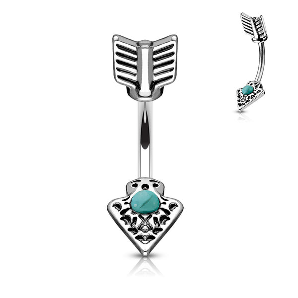 tribal arrow belly button ring with a small turquoise stone in the center of bottom arrow piece