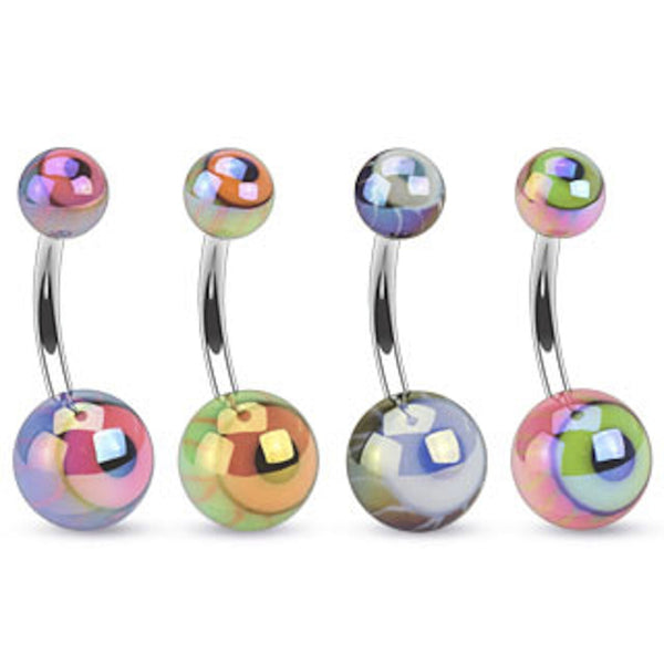 Acrylic Metallic Coated Eyeball Belly Button Ring