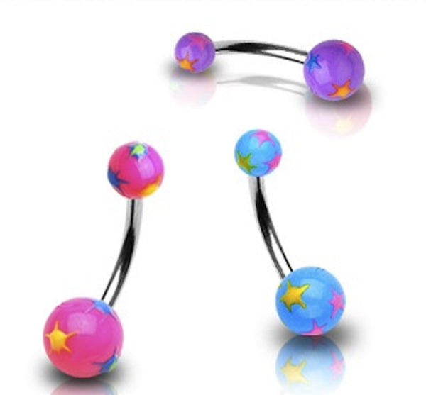 Acrylic Multi-Colored Starburst Belly Button Ring