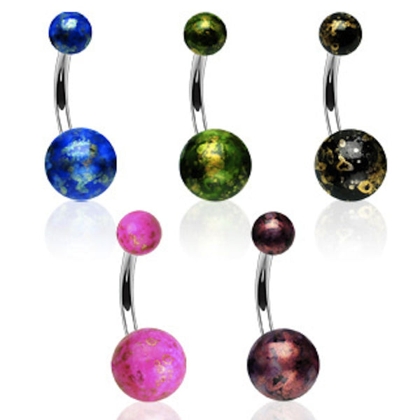 Acrylic Fossil Balls Belly Button Ring