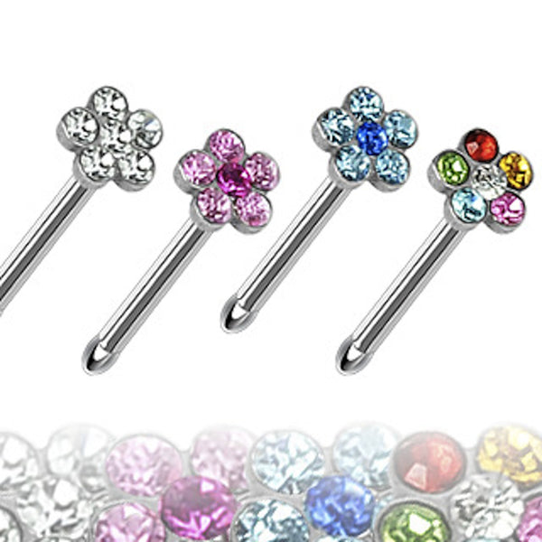 Multi-Gem Flower Top Surgical Steel Nose Bone Ring 20g