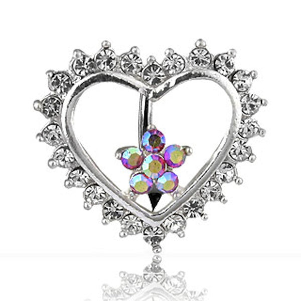 Reverse Heart and Pink Flower Belly Button Ring
