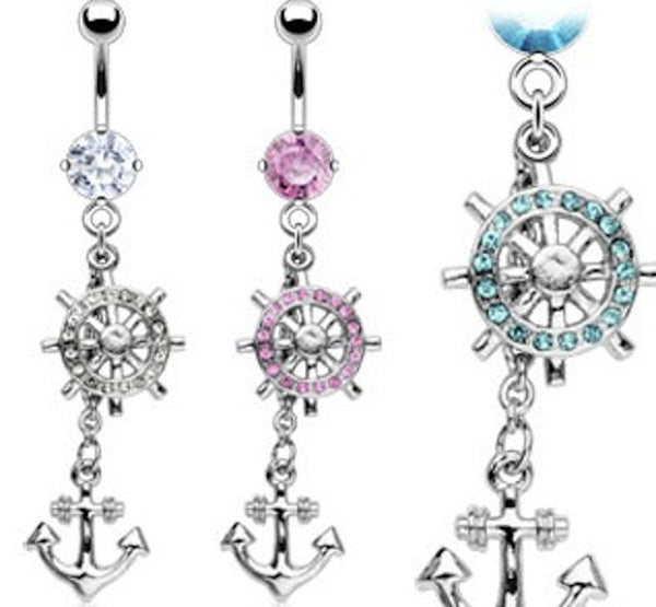 Ship's Wheel and Anchor Dangle Belly Button Ring