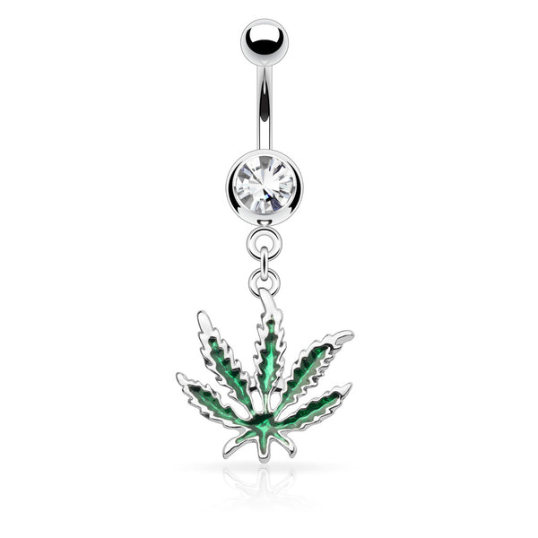 Pot Leaf Dangle Belly Button Ring