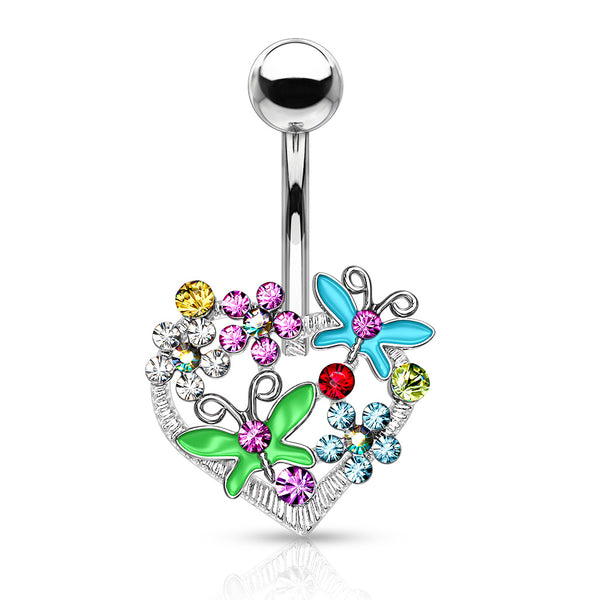 Multi-Colored Flowers and Butterflies on a Heart Belly Ring