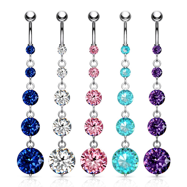 Round Gem Vertical Drop Belly Ring