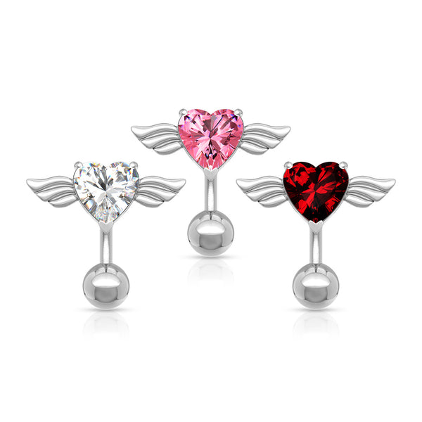 Heart with Angel Wings Reverse Belly Ring