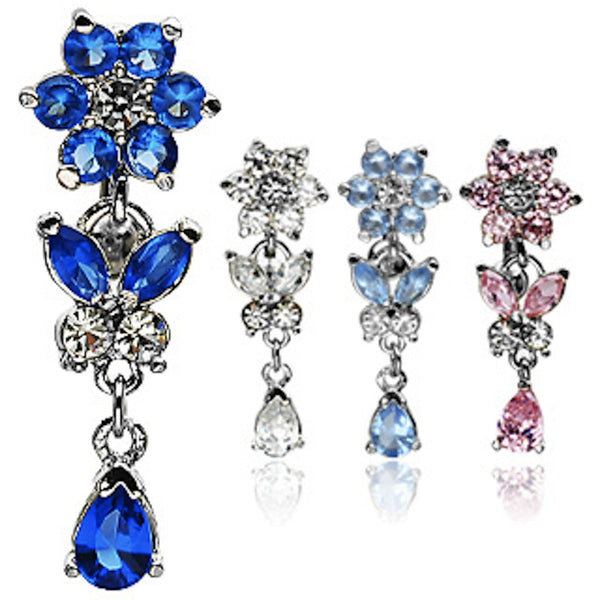 Flower and Butterfly Dangle Reverse Belly Ring