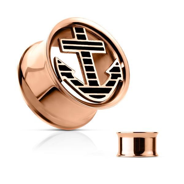Nautical anchor plug that is rose gold and double flared