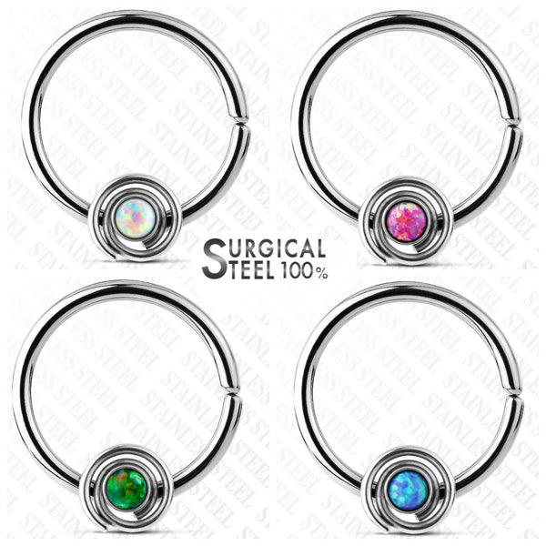 100% Surgical Steel Opal Septum/Daith/Cartilage Ring