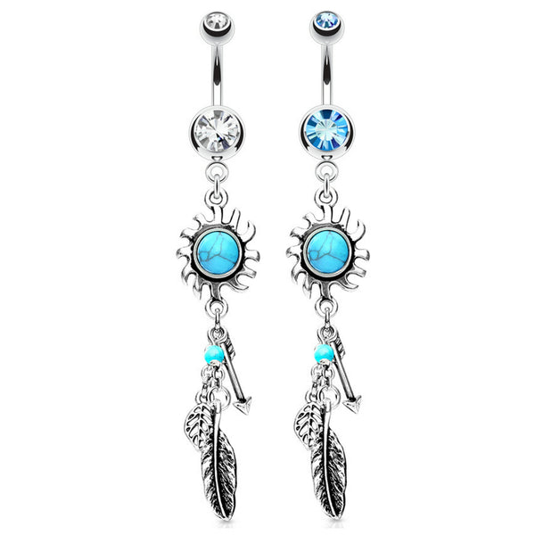 Turquoise Tribal Sun with Feather Dangle Belly Button Ring