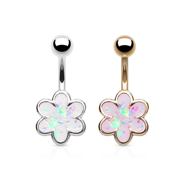 Opal glitter petal flower belly button ring