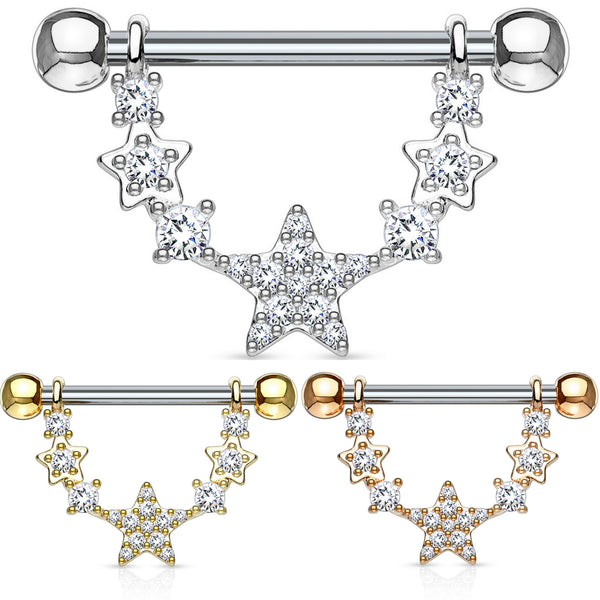 PAIR Linked Stars Nipple rings