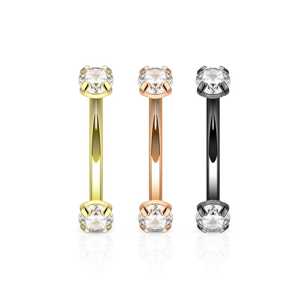 clear gem plated internally threaded eyebrow ring