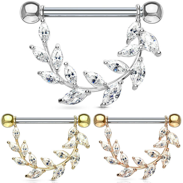 pair Marquise vine nipple rings
