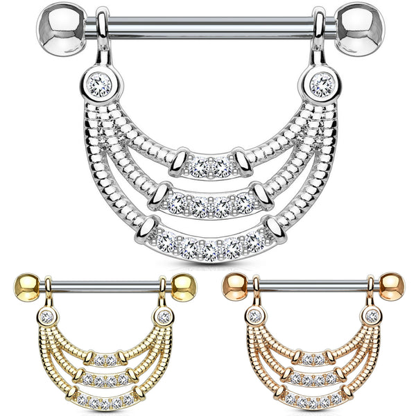 pair triple lined dangle nipple rings