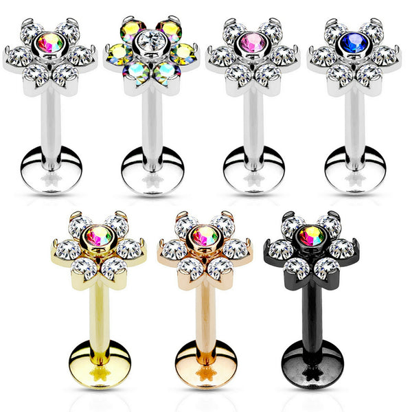 Internally Threaded 6-Gem Flower Top Lip Ring
