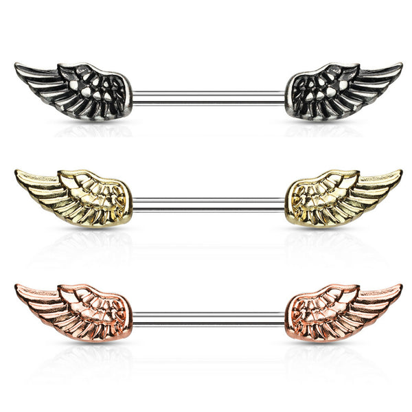 PAIR of angel wing surgical steel barbell nipple rings