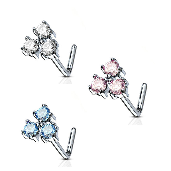 three round gems surgical steel l-bend nose ring