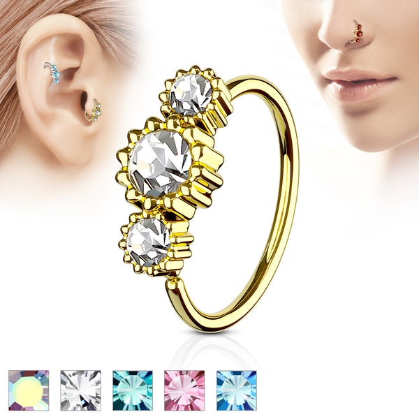 Gold round gems nose and cartilage ring