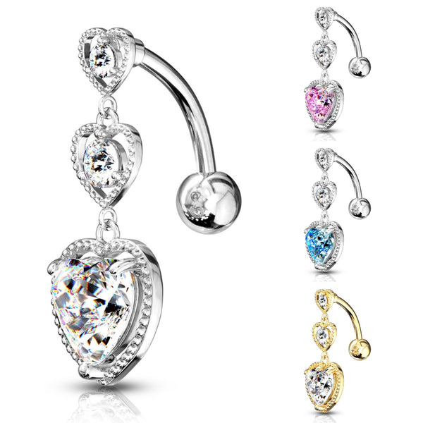 Triple Heart Drop Reverse Belly Ring