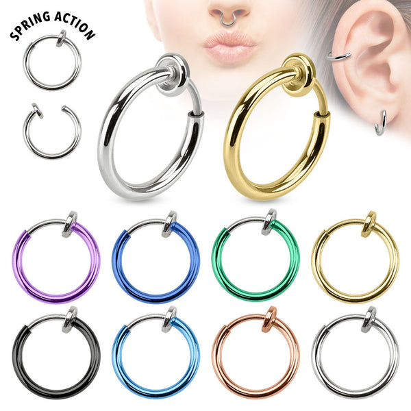 Spring Action Clip-On Surgical Steel Septum, Ear, and Nose Hoop