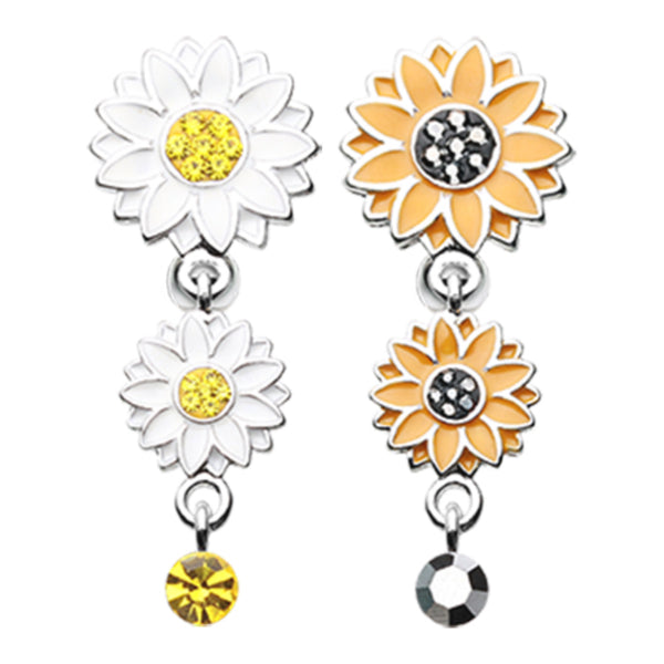 Reverse Sunflower Dangle Belly Ring